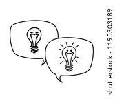 speech bubble with bulb light... | Shutterstock .eps vector #1195303189