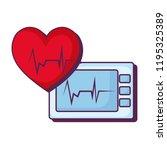 heart cardiology with ekg... | Shutterstock .eps vector #1195325389