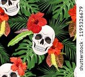 sugar skull with hibiscus... | Shutterstock .eps vector #1195326679
