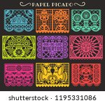 day of the dead. papel picado.... | Shutterstock .eps vector #1195331086