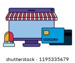 screen with tent and credit... | Shutterstock .eps vector #1195335679