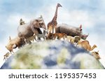conceptual image of wildlife... | Shutterstock . vector #1195357453