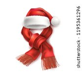 vector realistic santa hat with ... | Shutterstock .eps vector #1195361296