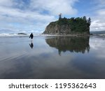 solitary man walking on pacific ...   Shutterstock . vector #1195362643