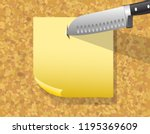 cork board  paper sticker with... | Shutterstock .eps vector #1195369609