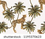seamless vector tropical marine ... | Shutterstock .eps vector #1195370623