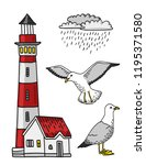 red and white lighthouse  rain... | Shutterstock . vector #1195371580