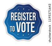 register to vote label or...   Shutterstock .eps vector #1195371643
