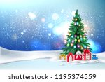 Vector christmas tree with christmas lights garland and present boxes under. New year holiday poster, banner background with ground with snowcaps, snowdrift snowfall night star sky blurred background. - stock vector