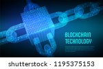 block chain. crypto currency.... | Shutterstock .eps vector #1195375153