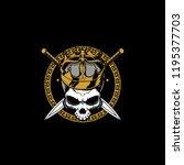 king skull head with sword... | Shutterstock .eps vector #1195377703