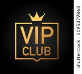 Stock photo vip club label on black background stock illustration 1195379863