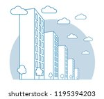 city view with high buildings ... | Shutterstock .eps vector #1195394203