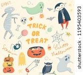 cute halloween doodle set | Shutterstock .eps vector #1195403593