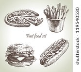 fast food set. hand drawn... | Shutterstock .eps vector #119540530