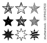 set of black hand drawn vector... | Shutterstock .eps vector #1195412923