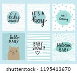 set of baby shower card design. ... | Shutterstock .eps vector #1195413670