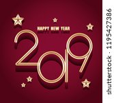 2019 happy new year with red... | Shutterstock . vector #1195427386