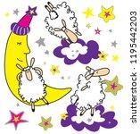 funny sheep good night clip art ... | Shutterstock .eps vector #1195442203