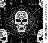 seamless pattern with evil... | Shutterstock .eps vector #1195446349