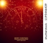 christmas or new year card with ... | Shutterstock .eps vector #1195446439