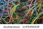 disordered telephone wire used... | Shutterstock . vector #1195450339