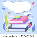 small woman read book. flat... | Shutterstock .eps vector #1195451866