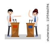 debate between political... | Shutterstock .eps vector #1195466596