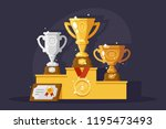 first rewards with golden ... | Shutterstock .eps vector #1195473493