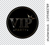 vip black and gold vector sign. ... | Shutterstock .eps vector #1195483789