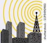 silhouette of tower transmitter ... | Shutterstock .eps vector #1195490983