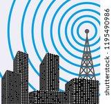 silhouette of tower transmitter ... | Shutterstock .eps vector #1195490986