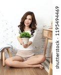 young beautiful asian woman sit ... | Shutterstock . vector #1195494469