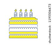 party cake icon. thin line... | Shutterstock .eps vector #1195506673