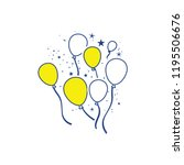 party balloons and stars icon.... | Shutterstock .eps vector #1195506676