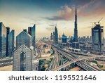 aerial view over big highway... | Shutterstock . vector #1195521646