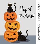 halloween pumpkin with black... | Shutterstock .eps vector #1195537786