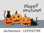 halloween pumpkin with black... | Shutterstock .eps vector #1195537789