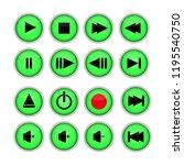 set of 16 buttons for cd dvd... | Shutterstock .eps vector #1195540750