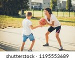 ball is my. mother and son... | Shutterstock . vector #1195553689
