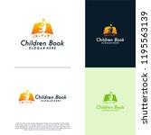 children book logo designs... | Shutterstock .eps vector #1195563139