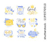 positive quotes set  hand... | Shutterstock .eps vector #1195570513