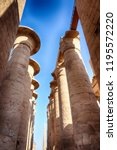 great hypostyle hall and clouds ... | Shutterstock . vector #1195572220