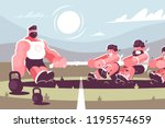 powerful man competing with men ...   Shutterstock .eps vector #1195574659