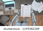 a white robot with a clipboard... | Shutterstock . vector #1195582189