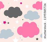 cute seamless cloud pattern...   Shutterstock .eps vector #1195585726