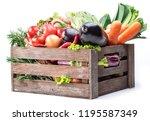 fresh multi colored vegetables... | Shutterstock . vector #1195587349