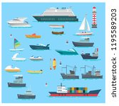 Set Sea Boats Vector...