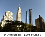 new york cityscape. manhattan... | Shutterstock . vector #1195592659