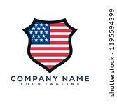 united state flag shield vector ... | Shutterstock .eps vector #1195594399